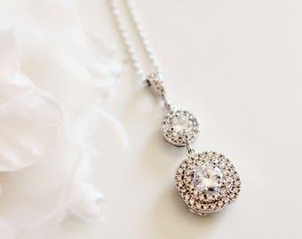 Crystal Bridal Necklace Princess Wedding Necklace Square Cubic Zirconia Crystal Necklace N122