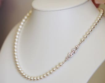 Bridal Necklace Pearl Wedding Necklace Bridal Jewelry Strand Pearl Necklace Swarovski Crystal Pearl Necklace Bridesmaid Necklace