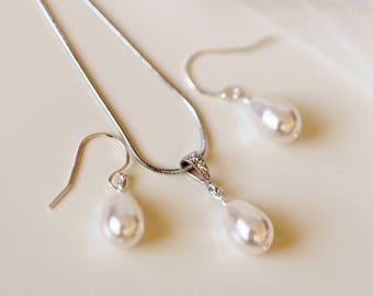 Bridesmaid Gift Set, Pearl Wedding Jewelry Set, Wedding Gift Set, Teardrop Swarovski Pearl Earrings Necklace Set Silver Rose Gold Pink S102