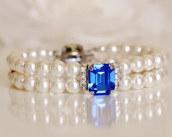 Swarovski Sapphire Blue Crystal & Two Strand Pearl Bridal Cuff Bracelet, Royal Blue Wedding Bridal bracelet B104