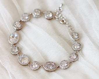 Crystal Bridal Bracelet, Silver Oval and Round Halo CZ Crystal Bracelet B117