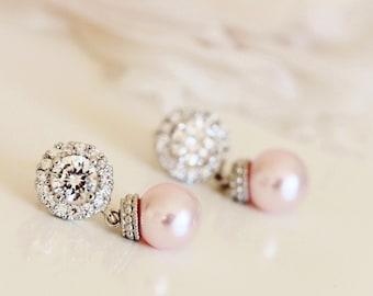 Blush Pink Pearl Earrings, Blush Wedding Jewelry, Bridal Earrings, Pink Bridesmaid Earrings E102