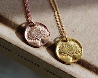Tree of Life Necklace, 24K Gold Vermeil Family Tree Gold Necklace for Women, Christmas Gifts For Her Mom Grandma Mother of the Bride