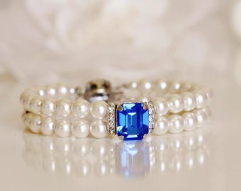 Swarovski Sapphire Blue Crystal & Two Strand Pearl Bridal Cuff Bracelet, Royal Blue Wedding Bridal bracelet B104