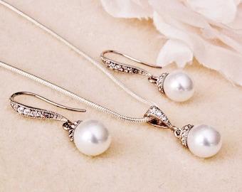 Pearl Wedding Jewelry, Pearl Bridesmaid Gift Set, Pearl Bridal Jewelry Set, Simple Pearl Jewelry Set 8mm Pearl Bridesmaid Jewelry Set S101
