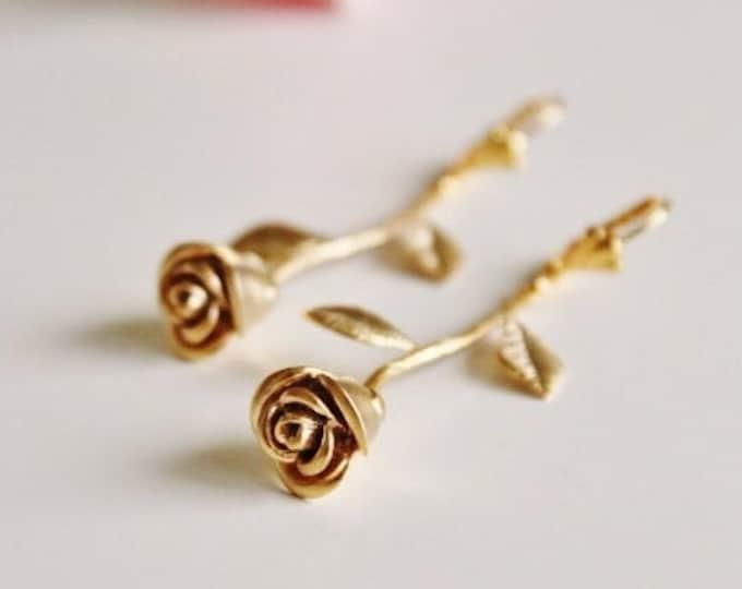 Featured listing image: Gold Rose Earrings, Rose Earrings, Dangle Earrings, Garden Wedding Party Gift for Bridesmaids, Birthday Gift Gold Flower Earrings E309