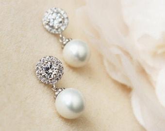 Pearl Bridal Earrings, Pearl Wedding Earrings, Crystal Halo Earrings, Drop Pearl Earrings, Bridesmaid Gift, Bridal Jewelry E102