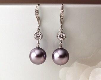 Purple Pearl Earrings, Mauve Purple Wedding Bridesmaid Earrings, Drop Earrings, Jacaranda Lavender Wedding Bridesmaid Gift E105