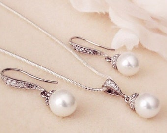 Bridesmaid Gift Set, Wedding Jewelry Set, Bridesmaids Gifts, Bridesmaid Jewelry Set, 8mm Pearl Jewelry Set, Bridal Shower Gift S101