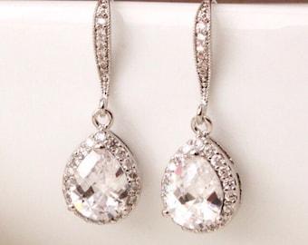 Wedding Jewelry Bridal Earrings Crystal Wedding Earrings Cubic Zirconia Teardrop Earrings Wedding Bridesmaid Gift Earrings
