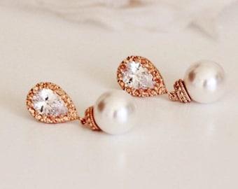 Pearl Bridal Earrings, Rose Gold Wedding Jewelry, Swarovski Pearl Earrings, Rose Gold Bridesmaid Earrings, Bridesmaid Gift Jewelry E108