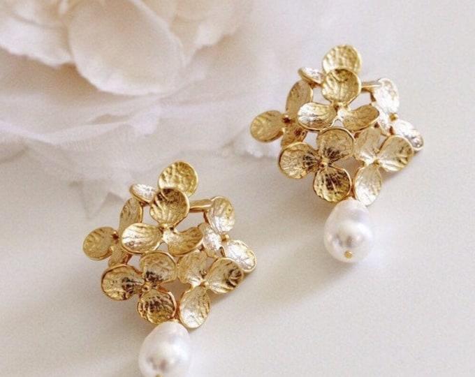 Featured listing image: Gold Bridal Earrings, Vintage Style Romantic Wedding Earrings, Pearl Earrings, Hydrangea Flower Statement Earrings Gold Wedding Jewelry E208