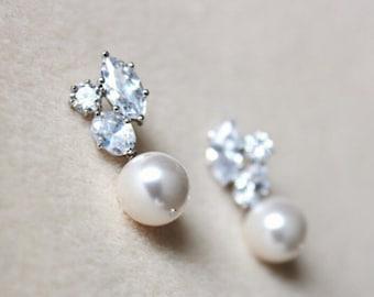 Bridal Earrings Pearl Wedding Jewelry White Ivory Cream Swarovski Crystal Pearl Earrings Bridesmaid Earrings Bridesmaid Gift Jewelry