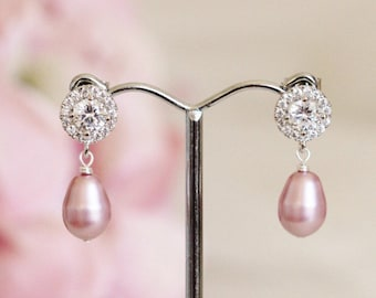 Blush Pink Pearl Earrings Pink Wedding Bridesmaid Earrings Blush Pink Earrings Pink Pearl Bridal Earrings Wedding Bridesmaid Jewelry