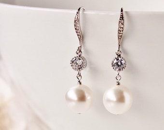 Bridal Earrings, Pearl Drop Earrings, Bridesmaid Earrings, White Ivory Swarovski Pearl Earrings, Wedding Jewelry, Bridesmaid Gift E105
