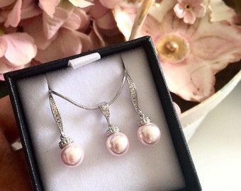 Bridesmaid Gift Set,Wedding Jewelry Set,White Ivory Cream Rose Gold Blush Pink Pearl Earrings and Necklace Set 8mm S101