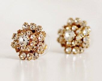 Swarovski Crystal Stud Earrings, Vintage Style Old Hollywood Glamour Gold Bridal Stud Earrings, Circular Dome Cluster Earrings,E203