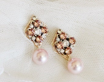 Art Deco Swarovski Crystal Rhinestone Earrings, Blush Pink Pearl Earrings, Wedding Jewelry E401
