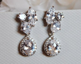 Crystal Bridal Earrings,Crystal Cluster CZ Drop Earrings,Wedding Formal Prom Statement Earrings E132