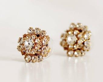 Gold Stud Bridal Earrings, Stud Wedding Earrings, Swarovski Crystal Stud Earrings, Mother of the Bride Bridesmaid Studs Gift For Women E203