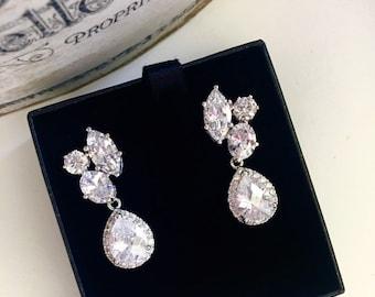 Crystal Bridal Earrings,Crystal Cluster CZ Drop Earrings,Wedding Formal Prom Statement Earrings E132