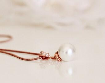 Rose Gold Swarovski Crystal Pearl Necklace, Rose Gold Wedding Gift Bridesmaid Necklace N102