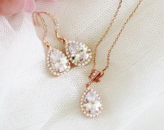 Rose Gold Bridal Jewelry Set, Crystal Wedding Jewelry Set, Rose Gold Bridesmaid Jewelry Set, Rose Gold Wedding Gifts S109