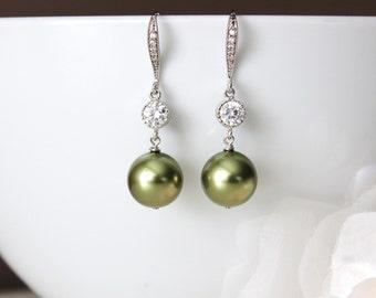 Olivine Green Pearl Drop Earrings, Olivine Green Wedding Jewelry, Bridesmaid Earrings E105