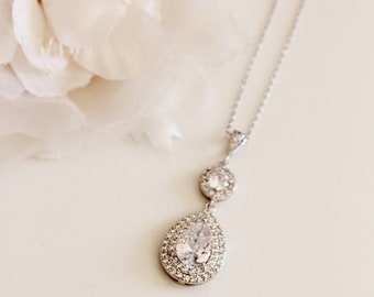 Lux Large Cubic Zirconia Teardrop Pendant Necklace, Wedding Jewelry N121