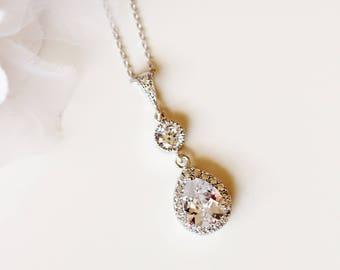Crystal Bridal Necklace, Wedding Necklace, Silver Rose Gold Teardrop Pendant, Cubic Zirconia Necklace, Bridal Jewelry N116