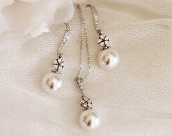 Pearl Bridal Jewelry Set, Silver Wedding Jewelry Set, Bridesmaid Gift Set, Swarovski Pearl Jewelry Set, Spring Wedding Gifts S111
