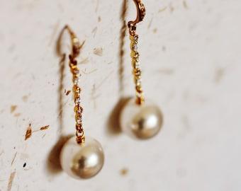Large Pearl Earrings, Bridal Earrings, Pearl Drop Earrings, Pearl Dangle Earrings 12mm Swarovski Pearl Earrings, Wedding Jewelry E152