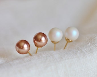 Pearl Stud Earrings, Swarovski Pearl Studs, Wedding Earrings Studs, Bridesmaid Gifts, Rose Gold White Pearl Studs Mother in Law Gift E126