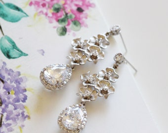 Cherry Blossom Floral Bridal Earrings, CZ Dangle Earrings, Crystal Drop Wedding Earrings, Spring Wedding Jewelry For Brides E124