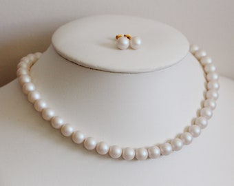 Pearl Choker Necklace, Pearl Bridal Necklace and Earrings Set, Pearl Necklace For Women, Bridal Pearl Studs, Wedding Jewelry Set N202
