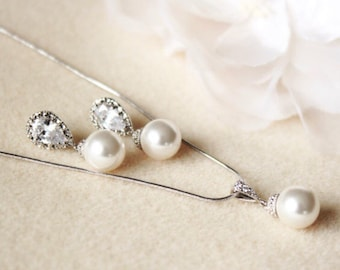 Classic Drop Pearl Bridesmaid Jewelry Set,Silver or Rose Gold Wedding Jewelry Set S106