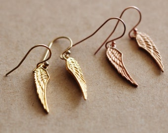 Gold Angel Wing Earrings, Rose Gold Angel Wing Earrings, Minimalist Earrings, Christmas Gifts For Friends Daughter Mom Nurse Gift Earrings