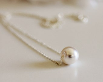 Floating Pearl Necklace, Single Pearl Bridal Necklace, Sterling Silver, Gold Wedding Jewelry, Bridesmaid Gift Necklace, Gift for Her N201