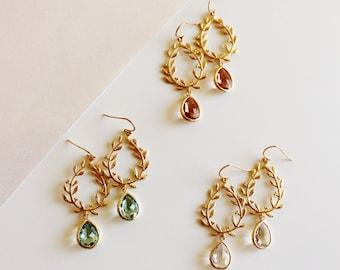 Gold Leaf Earrings, Gold Laurel Wreath Crystal Drop Earrings, Boho Wedding Jewelry, Bridesmaid Earrings, Rustic Wedding Party Gift Idea E141