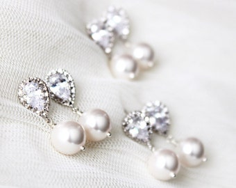 Bridesmaid Earrings Set of 3,4,5,6,7,8,9 Bridesmaid Gift Set, Bridesmaid Jewelry, Pearl Earrings Set Wedding Jewelry Bridal Party Gifts E108