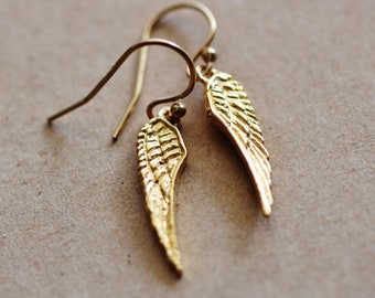 Gold Angel Wing Earrings, 24k Gold Vermeil Rose Gold Angel Wing Jewelry, Freedom Earrings, Birthday Gifts For Her Nurse Best Friend