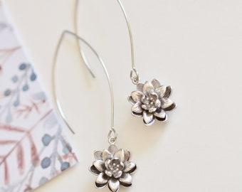 Lotus Earrings, Sterling Silver Yoga Earrings, Lotus Flower Earrings, Yoga Jewelry Girl Baby shower gift E137