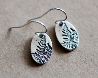 Sterling Silver Fern Earrings, Minimalist Nature inspired Forest Fern Leaf Earrings, Woodland Earrings, Botanical Jewelry Gift for Her
