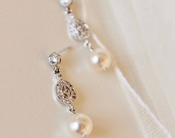Delicate Wedding Earrings, Pearl Bridal Earrings, Pearl Drop Earrings, Dainty Pearl Bridal Jewelry 8mm Pearl Earrings E135
