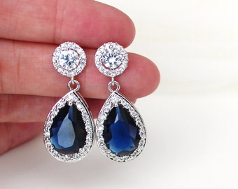 Sapphire Blue Bridal Earrings with Round Halo Crystal Sterling Silver Posts, Something Blue Wedding Earrings,E120