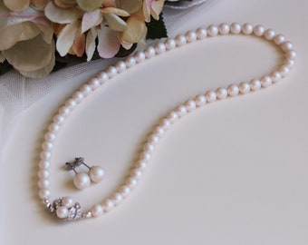 Pearl Bridal Necklace and Earrings Set, Pearl Choker Necklace, Bridal Earrings Pearl Studs Pearl Necklace, Pearl Wedding Jewelry Set N202
