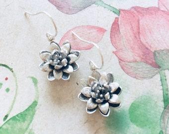 Lotus Flower Earrings, Sterling Silver Yoga Earrings, Lotus Earrings Yoga Jewelry Girl Baby shower gift for Her Women Girlfriend E137