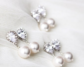 Bridesmaid Earrings Set of 3,4,5,6,7,8,9 Bridesmaid Gift Set, Bridesmaid Jewelry, Pearl Earrings Set Wedding Jewelry Bridal Party Gifts E108