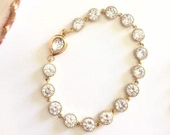 Silver or Gold Cubic Zirconia Swarovski Crystal Bracelet Wedding Bracelet Prom Gift B116
