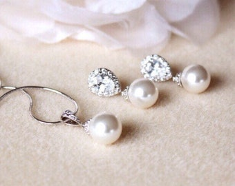 Pearl Bridal Jewelry Set, Wedding Jewelry Set For Brides, Classic Swarovski Pearl Jewelry Set, Bridesmaid Gift Set, Bridal Set S107
